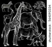african animals elephant  lion  ... | Shutterstock .eps vector #564093334