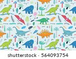 funny dinosaurs with palm... | Shutterstock .eps vector #564093754