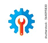 gear and wrench vector logo... | Shutterstock .eps vector #564095830