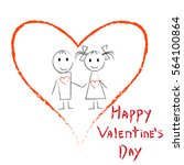 hand drawn couple in red heart. ...   Shutterstock .eps vector #564100864