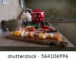 food leftovers on kitchen... | Shutterstock . vector #564106996