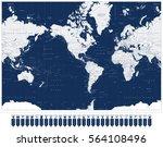 america centered world map and... | Shutterstock .eps vector #564108496