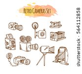 retro photo cameras hand drawn... | Shutterstock .eps vector #564112858