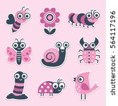 cute sticker collection of... | Shutterstock .eps vector #564117196