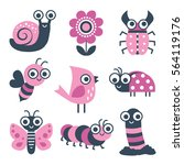 cute collection of vector... | Shutterstock .eps vector #564119176