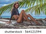 sensual blond woman wearing... | Shutterstock . vector #564121594