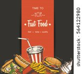 set of hand drawn fast food... | Shutterstock .eps vector #564122980