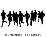 people athletes on running race ... | Shutterstock .eps vector #564125650