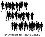 people athletes on running race ... | Shutterstock . vector #564125659
