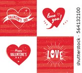 valentine's day hearts labels... | Shutterstock .eps vector #564132100