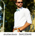 handsome hipster model man in... | Shutterstock . vector #564133648