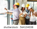 group of architects and experts ... | Shutterstock . vector #564134038