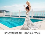 beautiful blonde young sexy... | Shutterstock . vector #564137938