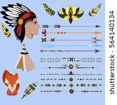 indian  arrows  fox  wigwam ... | Shutterstock .eps vector #564140134