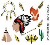 indian  arrows  fox  wigwam ... | Shutterstock .eps vector #564140158