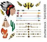 indian  arrows  fox  wigwam ... | Shutterstock .eps vector #564140200