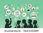 silhouette of a group of people ... | Shutterstock .eps vector #564143389