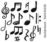 Music notes. Vector illustration, grunge style,imitation chalk,hand drawn