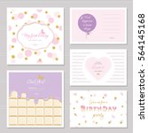 cute cards design with glitter... | Shutterstock .eps vector #564145168