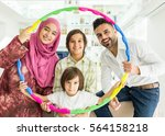 happy arabic muslim family at... | Shutterstock . vector #564158218