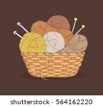 balls of yarn and knitting... | Shutterstock .eps vector #564162220