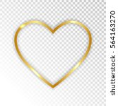 Gold Paper Heart  Isolated On...
