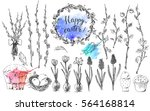 hand drawn ink easter set with... | Shutterstock .eps vector #564168814