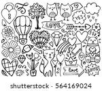 sketch cute elements. black... | Shutterstock .eps vector #564169024