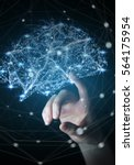 businesswoman touching digital... | Shutterstock . vector #564175954