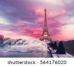 eiffel tower on a sunset half...   Shutterstock . vector #564176020