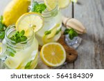 classic lemonade in glass jars  ... | Shutterstock . vector #564184309