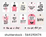 abstract black  white  pink and ... | Shutterstock .eps vector #564190474