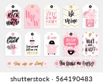 abstract black  white  pink and ... | Shutterstock .eps vector #564190483