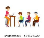 young teacher  holds a lecture... | Shutterstock .eps vector #564194620