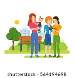 young people with gadgets... | Shutterstock .eps vector #564194698