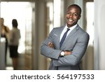 smiling boss ceo at office work ... | Shutterstock . vector #564197533