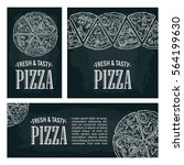 set posters with slice pizza... | Shutterstock .eps vector #564199630