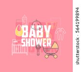 baby shower icons. line style... | Shutterstock .eps vector #564199894