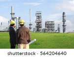 two engineer on site with eco... | Shutterstock . vector #564204640