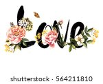 card with the word love and... | Shutterstock . vector #564211810