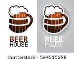 wooden beer mug on isolated... | Shutterstock .eps vector #564215398