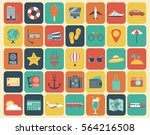 travel icons set. flat design... | Shutterstock .eps vector #564216508