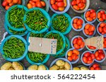 tomatoes and potatoes for sale... | Shutterstock . vector #564222454