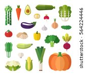 vegetable icons vector set.... | Shutterstock .eps vector #564224446