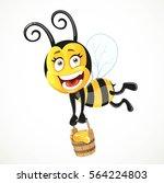 cartoon bee flies with a wooden ...