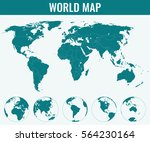 world map with globes.... | Shutterstock .eps vector #564230164