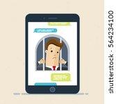 smartphone addiction. unhappy... | Shutterstock .eps vector #564234100