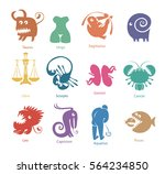 vector set of funny color... | Shutterstock .eps vector #564234850