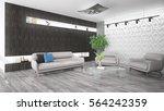 modern bright interior . 3d... | Shutterstock . vector #564242359