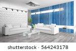 modern bright interior . 3d... | Shutterstock . vector #564243178